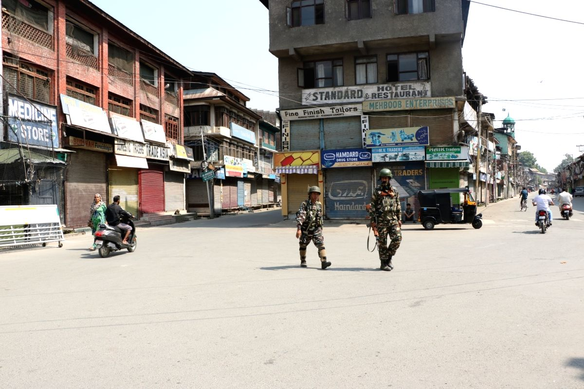 Srinagar: Security beefed up during a valley-wide protest shutdown being observed on the third death anniversary of Hizbul commander, Burhan Wani in Srinagar on July 8, 2019. Restrictions were imposed in parts of the city and other places in the vall