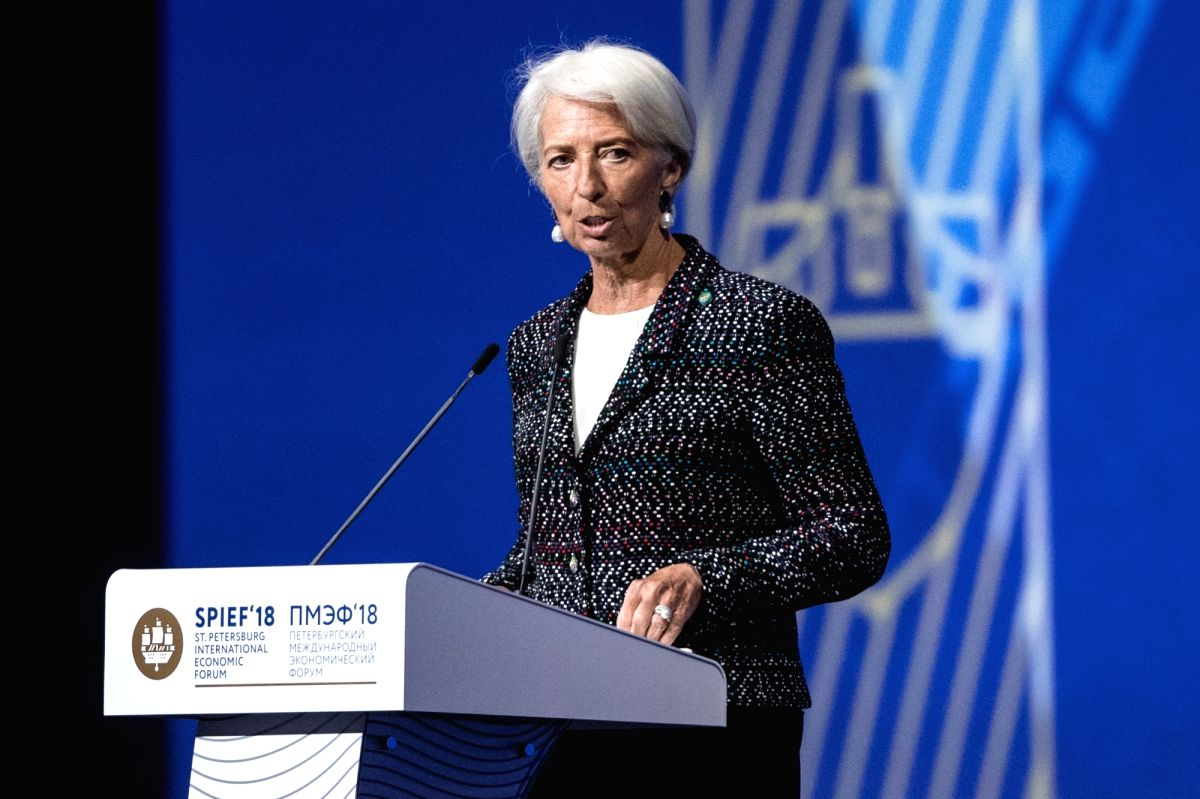 ST.Managing Director of the International Monetary Fund Christine Lagarde addresses a plenary session during the 22nd St. Petersburg International Economic Forum ...