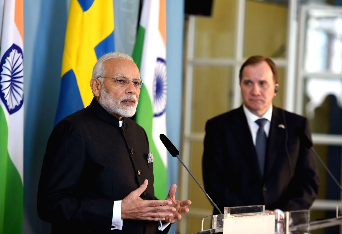 Stockholm: Prime Minister Narendra Modi and his Swedish counterpart Stefan Lofven during the Joint Press Statement, in Stockholm, Sweden on April 17, 2018. (Photo: IANS/PIB)