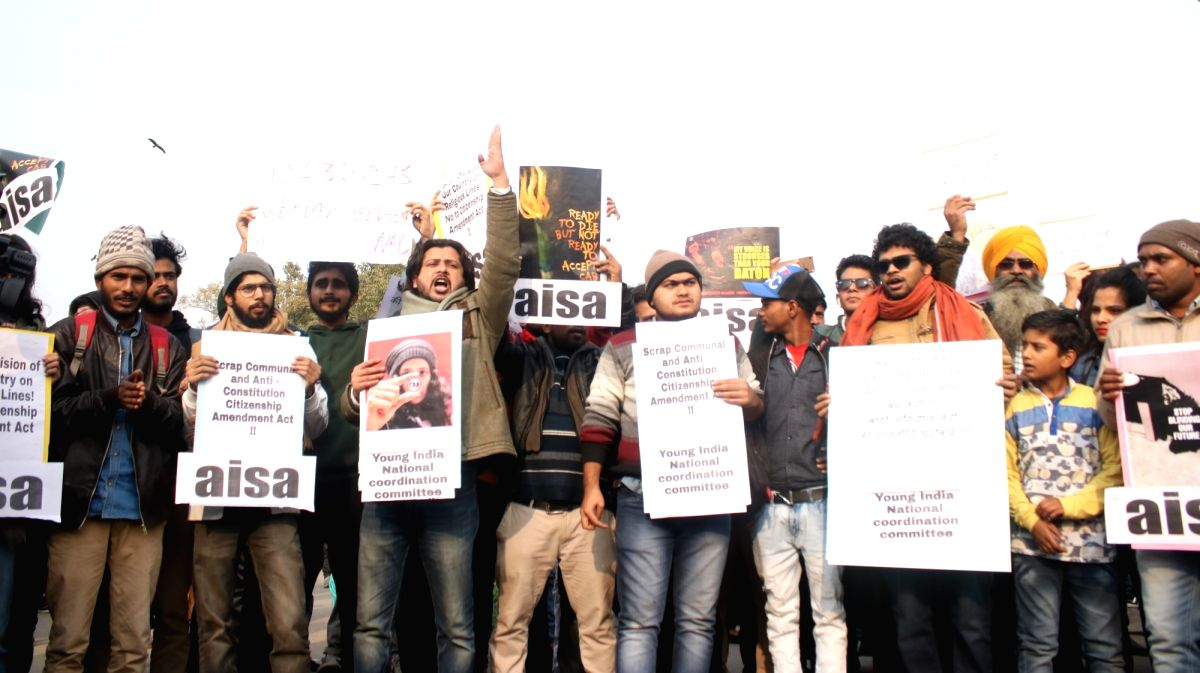 Students and social activists protest against police violence on students in Aligarh Muslim University, Jamia Millia Islamia University and other campuses over demonstrations against Citizenship Amendment Act (CAA) 2019 and National Register of Citiz