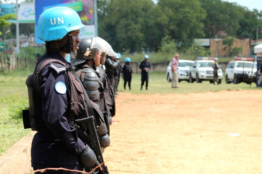Sudan, Nov. 18 (Xinhua) --  UN Peacekeepers from Rwanda stand guard during the celebration of the United Nations Day which is October 24, in Juba, South Sudan on. (Xinhua/Gale Julius/IANS)