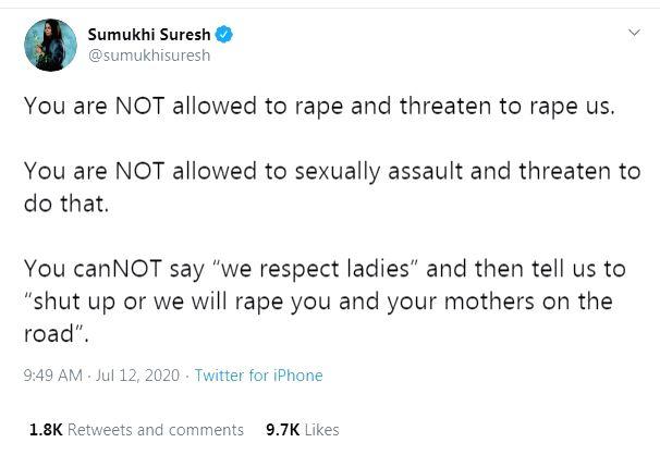 Sumukhi Suresh condemns rape threats on female comics.