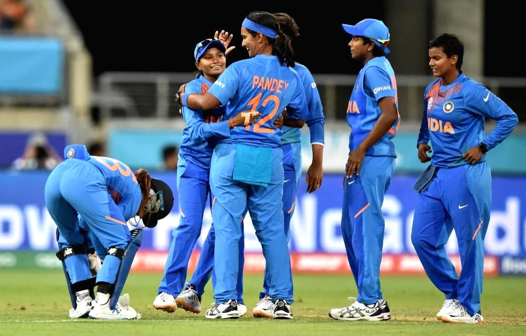 Sydney: India players celebrate fall of a wicket during the ICC Women's T20 World Cup 1st match between India and Australia at Sydney Showground Stadium in Sydney on Feb 21, 2020. (Photo: Twitter/@T20WorldCup)