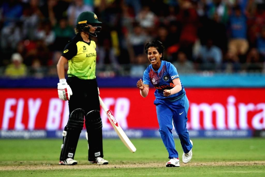 Sydney: India's Poonam Yadav celebrates fall of a wicket during the ICC Women's T20 World Cup 1st match between India and Australia at Sydney Showground Stadium in Sydney on Feb 21, 2020. (Photo: Twitter/@T20WorldCup)
