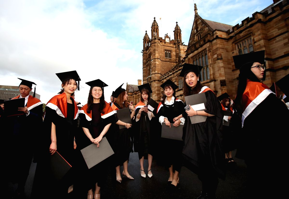 SYDNEY, June 17, 2019 (Xinhua) -- Graduates are seen at the campus of University of Sydney, Australia, June 5, 2019. Introduced in 2010, Australia's move to a demand-driven higher education system has seen a sharp rise in university enrollments. But