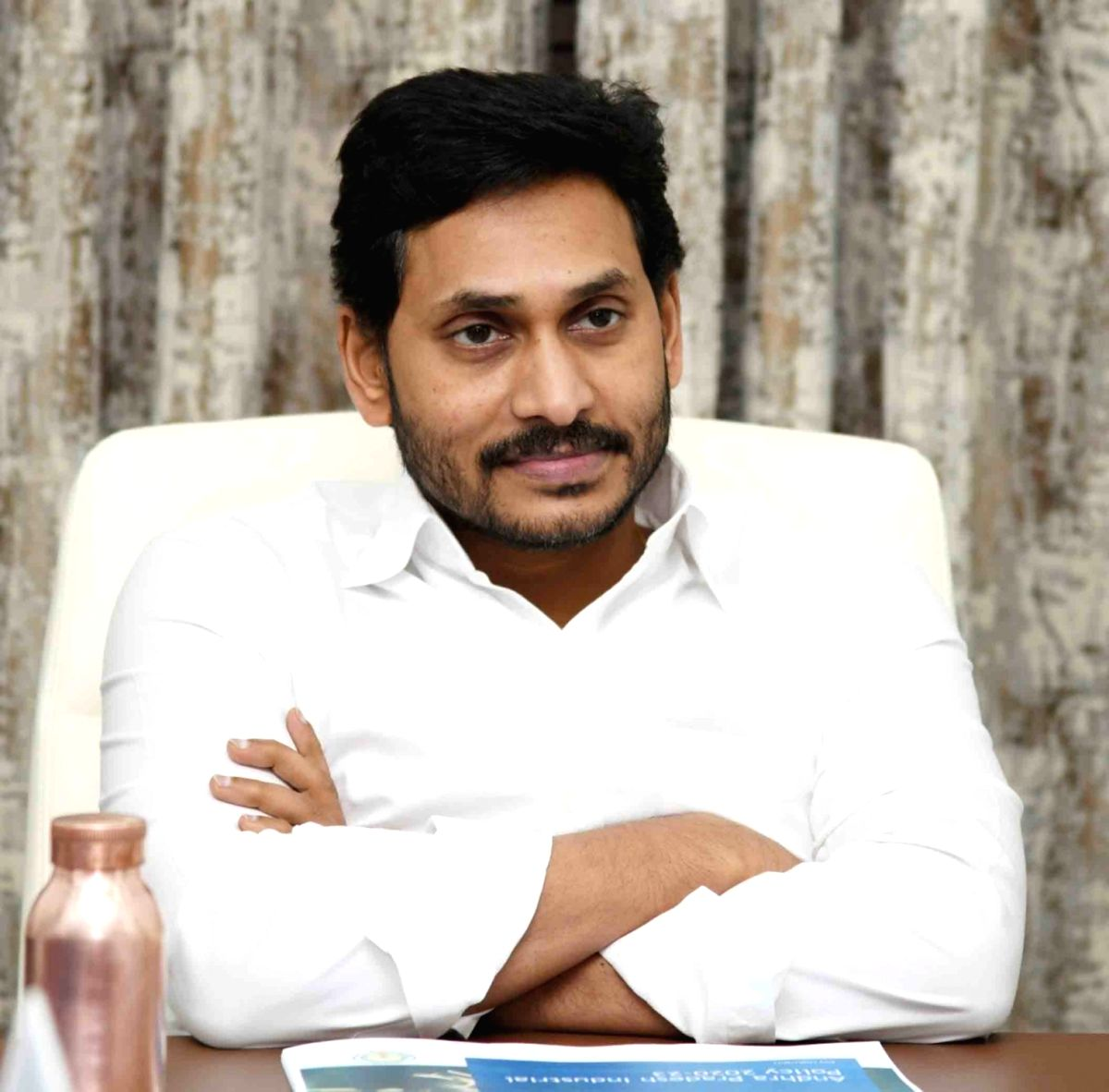 Tadepalli: Andhra Pradesh Chief Minister YS Jagan Mohan Reddy presides over a meeting to review the new industrial policy ahead of its implementation, at his camp office in Tadepalli on July 2, 2020.