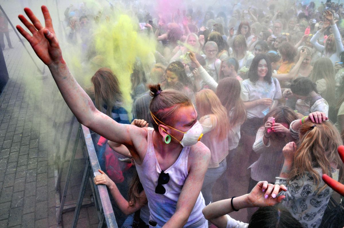 TALLINN - People attend Dream Holi Festival in Tallinn, Estonia.