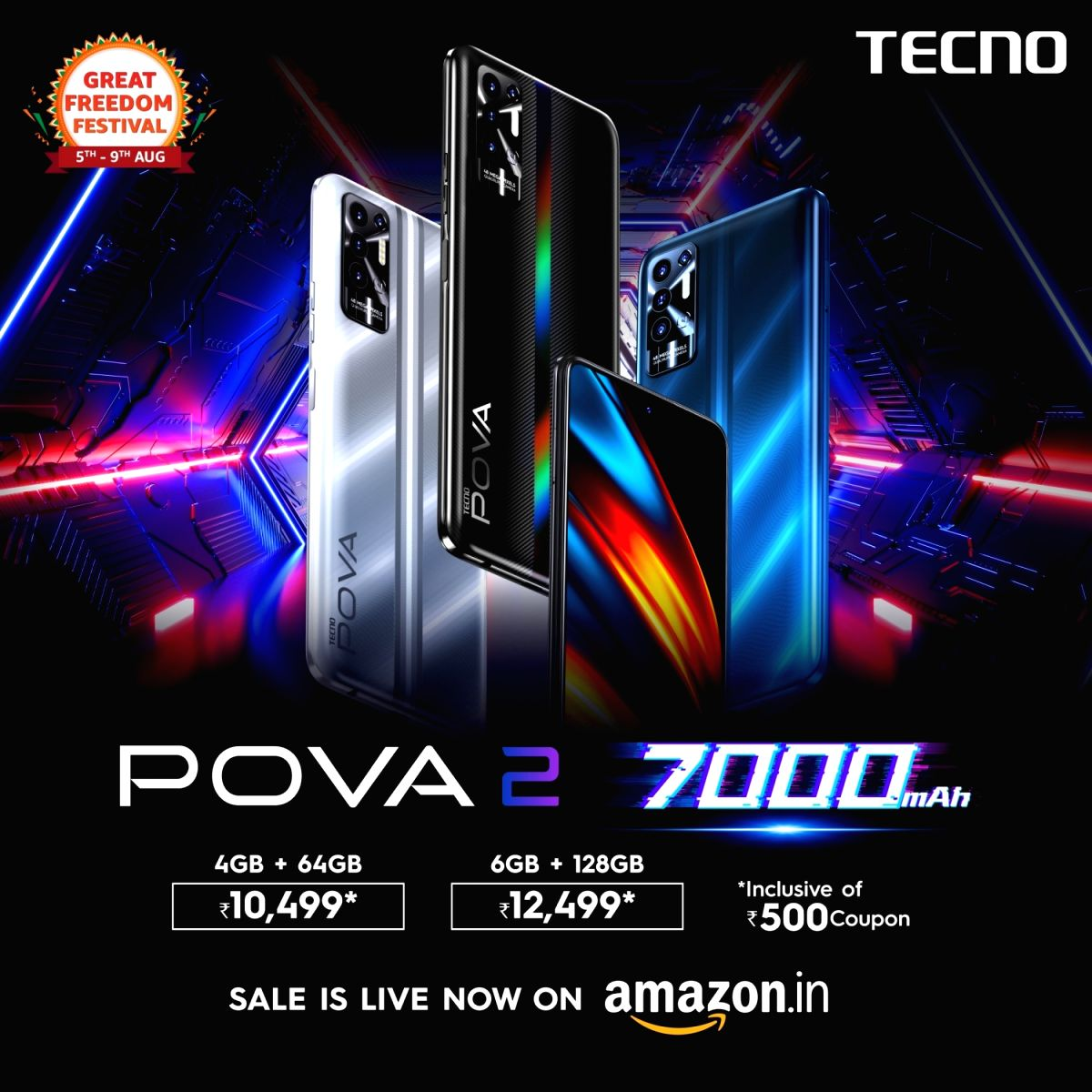 TECNO's POVA 2 first sale is now live on Amazon at INR 10499