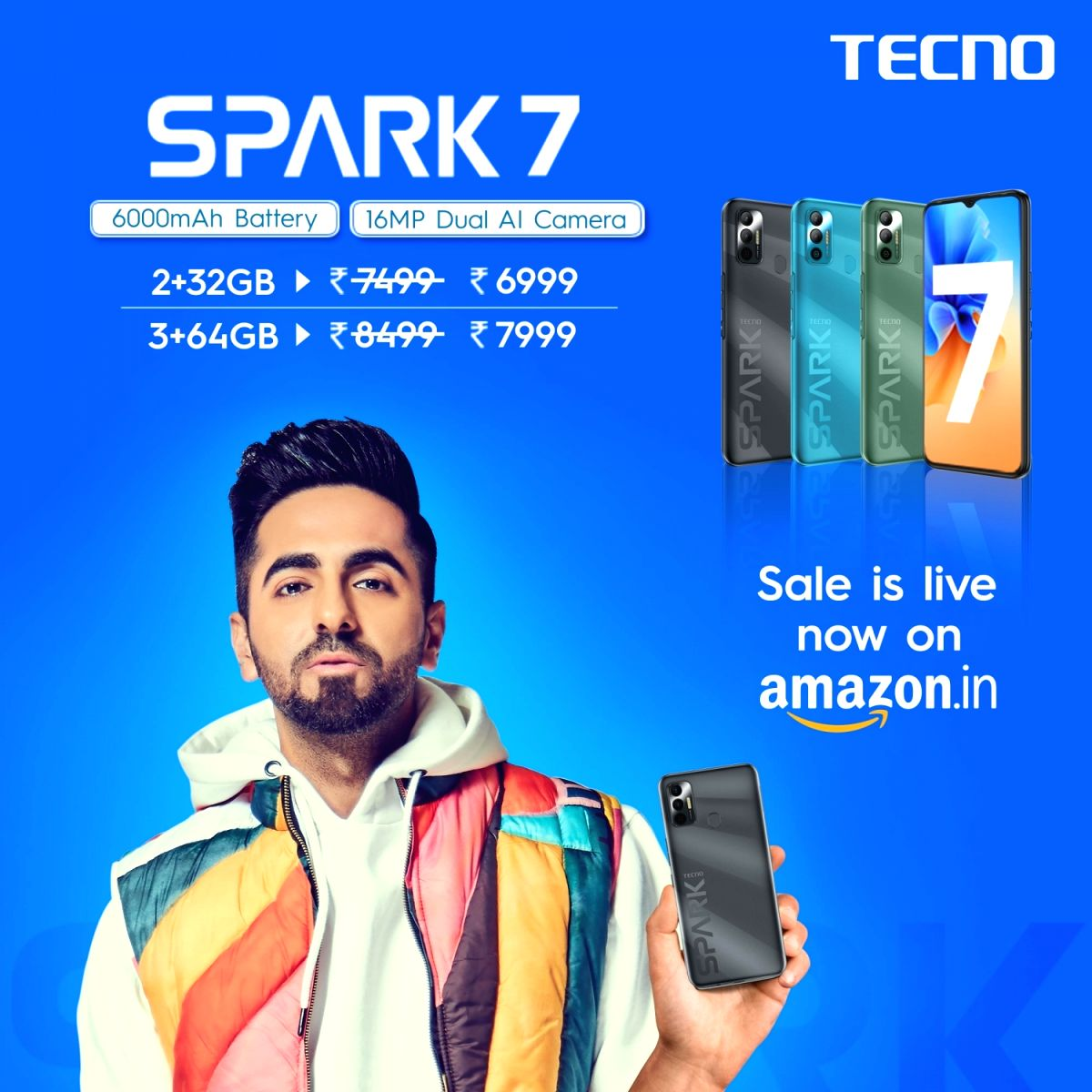 TECNO SPARK 7 goes live for sale on Amazon.