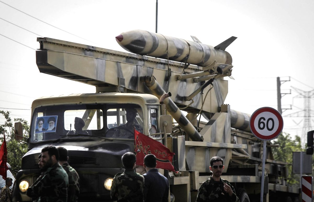 TEHRAN, April 18, 2015 (Xinhua) -- An Iranian military vehicle carrying a missile during the Army Day parade in Tehran, Iran, on April 18, 2015. Different units of Iranian army staged parades in a ceremony to show the latest Iranian military achievem