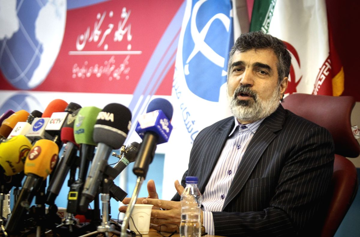 "TEHRAN, April 21, 2015 (Xinhua) -- Spokesman for the Atomic Energy Organization of Iran Behrouz Kamalvandi addresses a press conference in Tehran April 20, 2015. Iran is transparent over its nuclear activities and ""has nothing to hide"", Kamalvandi sa"