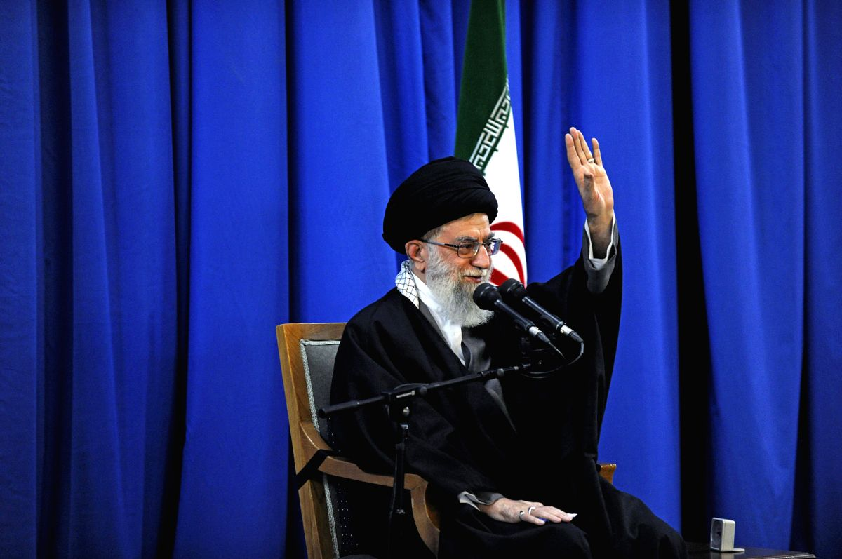 TEHRAN, March 21, 2013  Iran's Supreme Leader Ayatollah Ali Khamenei speaks on the first day of Iranian new year at the city of Mashhad, northeastern Iran, March 21, 2013. Iran would annihilate the Israeli cities of Tel Aviv and Haifa if attacked by