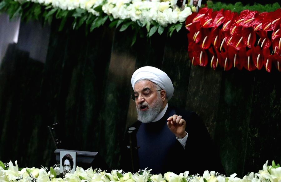 Tehran, May. 27, 2020 (Xinhua) -- Iranian President Hassan Rouhani addresses the opening session of Iran's new parliament in Tehran, Iran, on May 27, 2020. (Xinhua/Ahmad Halabisaz/IANS)