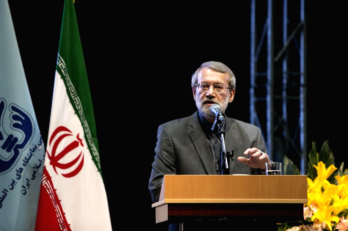TEHRAN, May 6, 2017 (Xinhua) -- Iranian Parliament Speaker Ali Larijani speaks during the opening ceremony of the 22nd Iran International Oil, Gas, Refining and Petrochemical Exhibition in Tehran, Iran, May 6, 2017. Iran kicked off a major energy exh