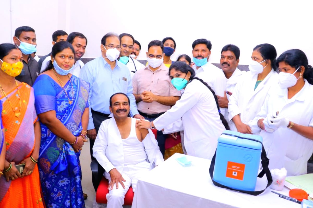 Telangana health minister Eatala Rajender taking vaccine.