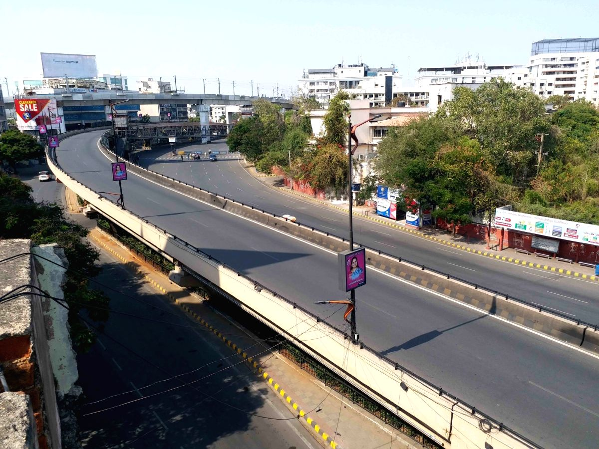 The city streets bear a deserted look during a complete lockdown for 21 days announced by Prime Minister Narendra Modi