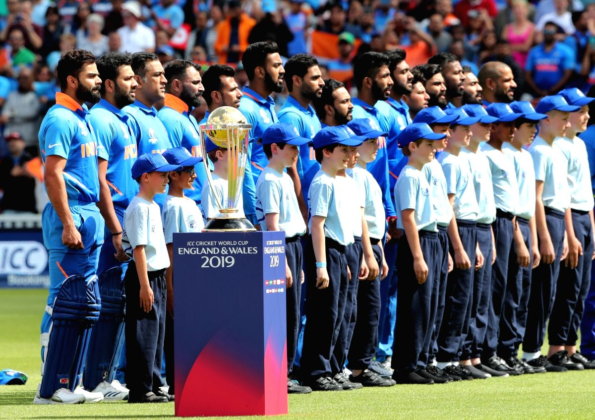 The Indian Cricket team ahead of the match between India and Australia during ICC Cricket World Cup 2019 at the Oval