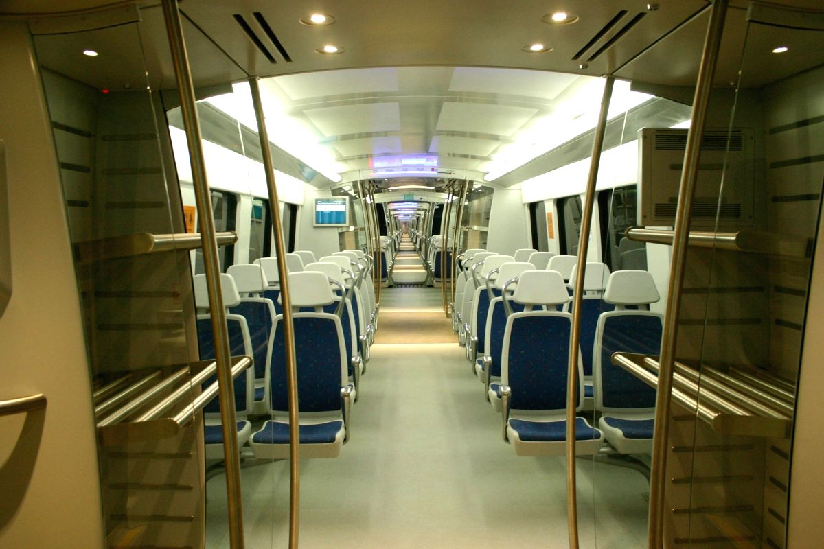 The inside view of Airport Metro at the IGI Airport  station in New Delhi on Sat 5 Feb 2011.
