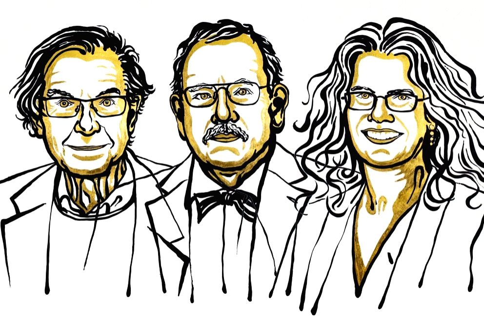 The Royal Swedish Academy of Sciences has decided to award the Nobel Prize in Physics 2020 with one half to Roger Penrose and and the other half jointly to Reinhard Genzel and Andrea Ghez. Illustration: Niklas Elmehed. (Photo Courtesy: Nobel Media)
