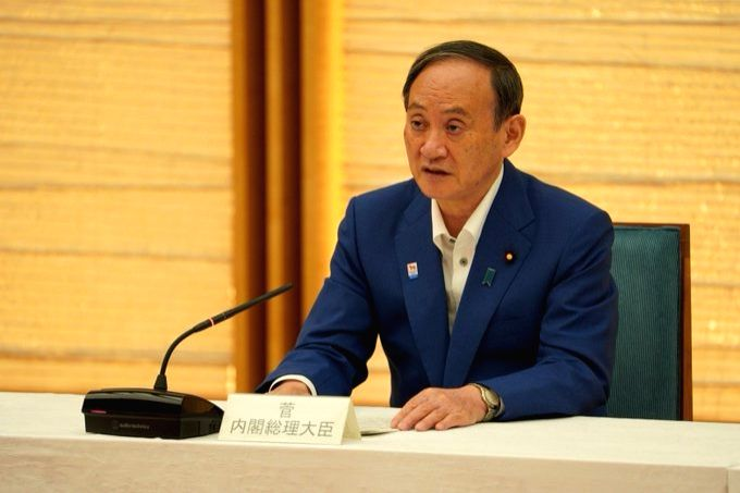 The support rate for Japanese Prime Minister Yoshihide Suga's cabinet decreased to 35.9 percent, an all-time low.(pic credit: https://twitter.com/sugawitter)