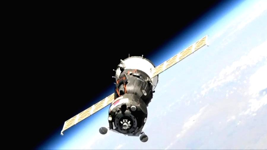 The unpiloted Soyuz MS-14 spacecraft pictured near the International Space Station. Photo: NASA.
