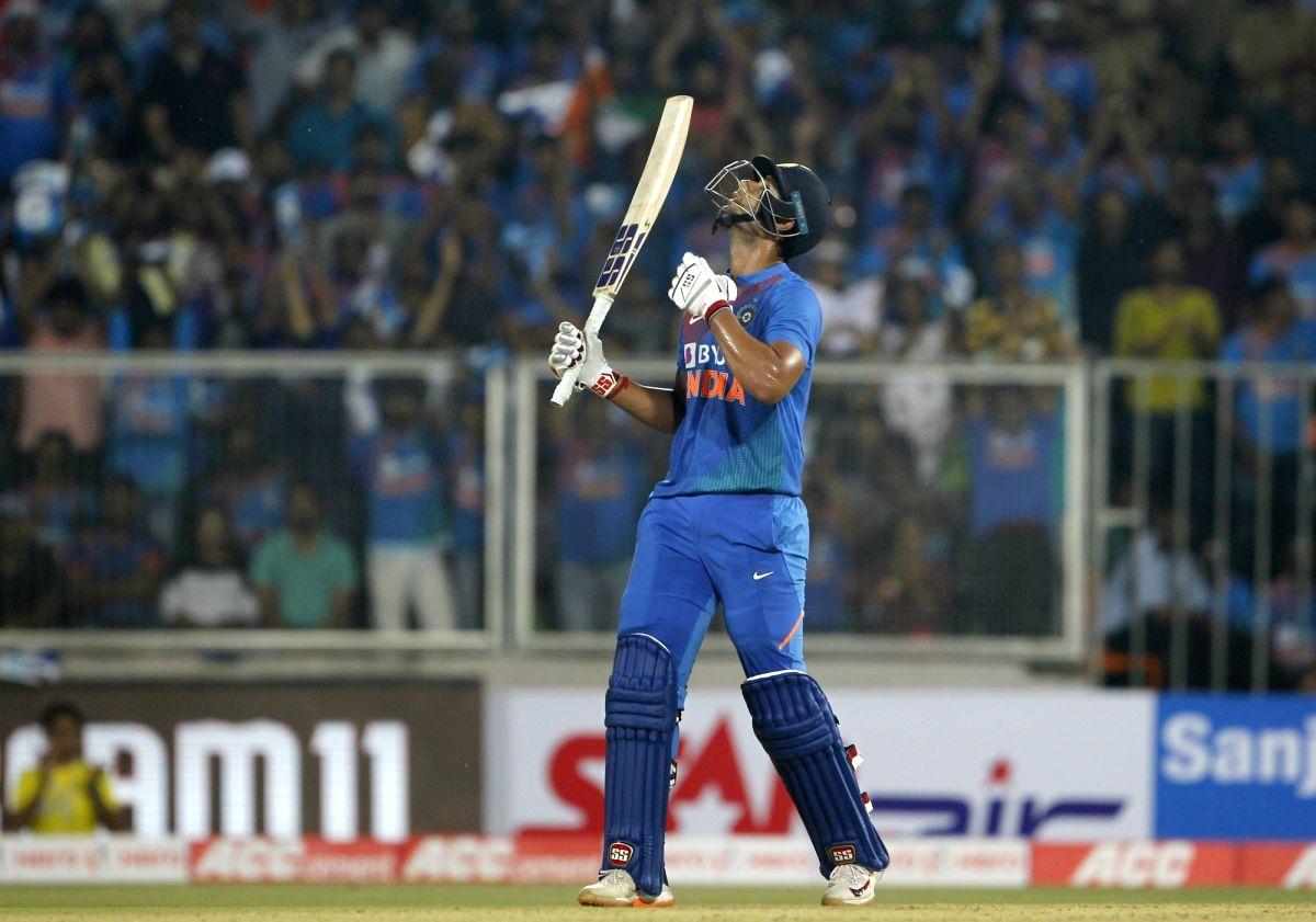 Thiruvananthapuram: India's Shivam Dube celebrates his half century during the second T20I match between India and West Indies at the Greenfield International Stadium in Thiruvananthapuram, Kerala on Dec 8, 2019. (Photo: Surjeet Yadav/IANS)