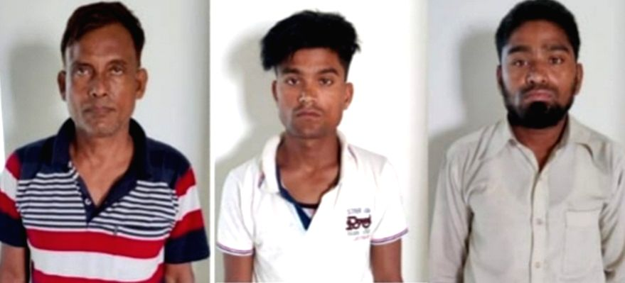 Three held for human trafficking.