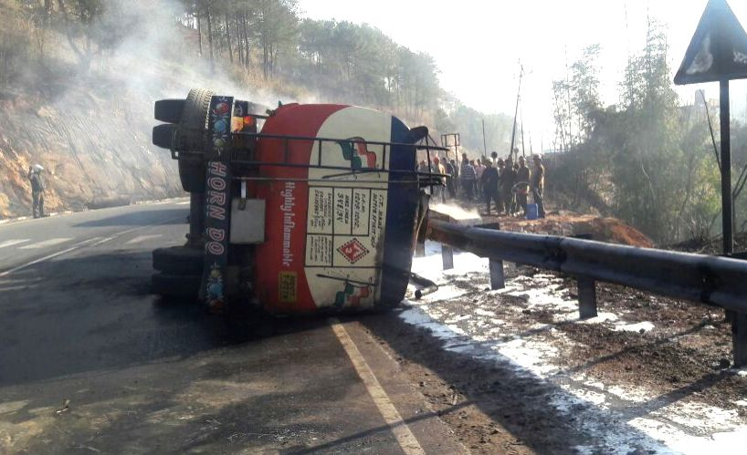 Three persons were killed including the driver when an oil tanker exploded near Mawpun Umroi Shillong Byepass, in Meghalaya on March 14, 2017.