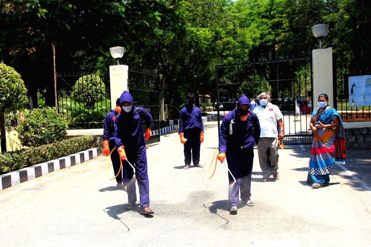 Tirupati: The administrative building of Tirumala Tirupati Devasthanams (TTD) being sanitised amid COVID-19 pandemic during the nationwide lockdown imposed as a precautionary measure to contain coronavirus, that has now been extended till May 3; in A