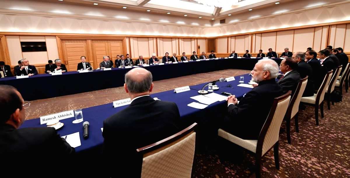 :Tokyo: Prime Minister Narendra Modi during a meeting with the business leaders at the India-Japan Business ers Forum in Tokyo, Japan, on Oct 29, 2018. (Photo: IANS/PIB).