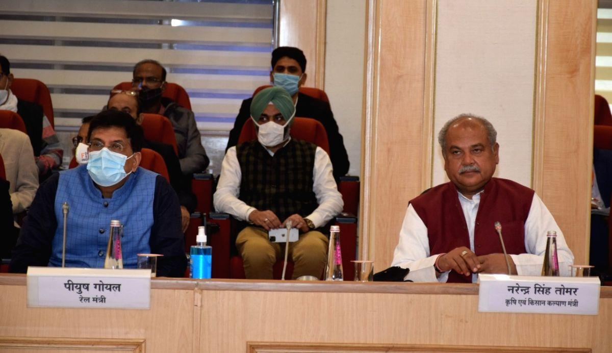 Tomar, Goyal lead talks with farmers, Shah, Rajnath stay away for now.