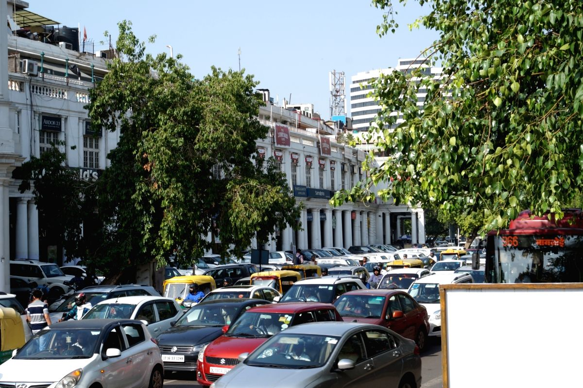 Traffic jam at Delhi's Connaught Place due to International Yoga Day preparations on June 20, 2017.