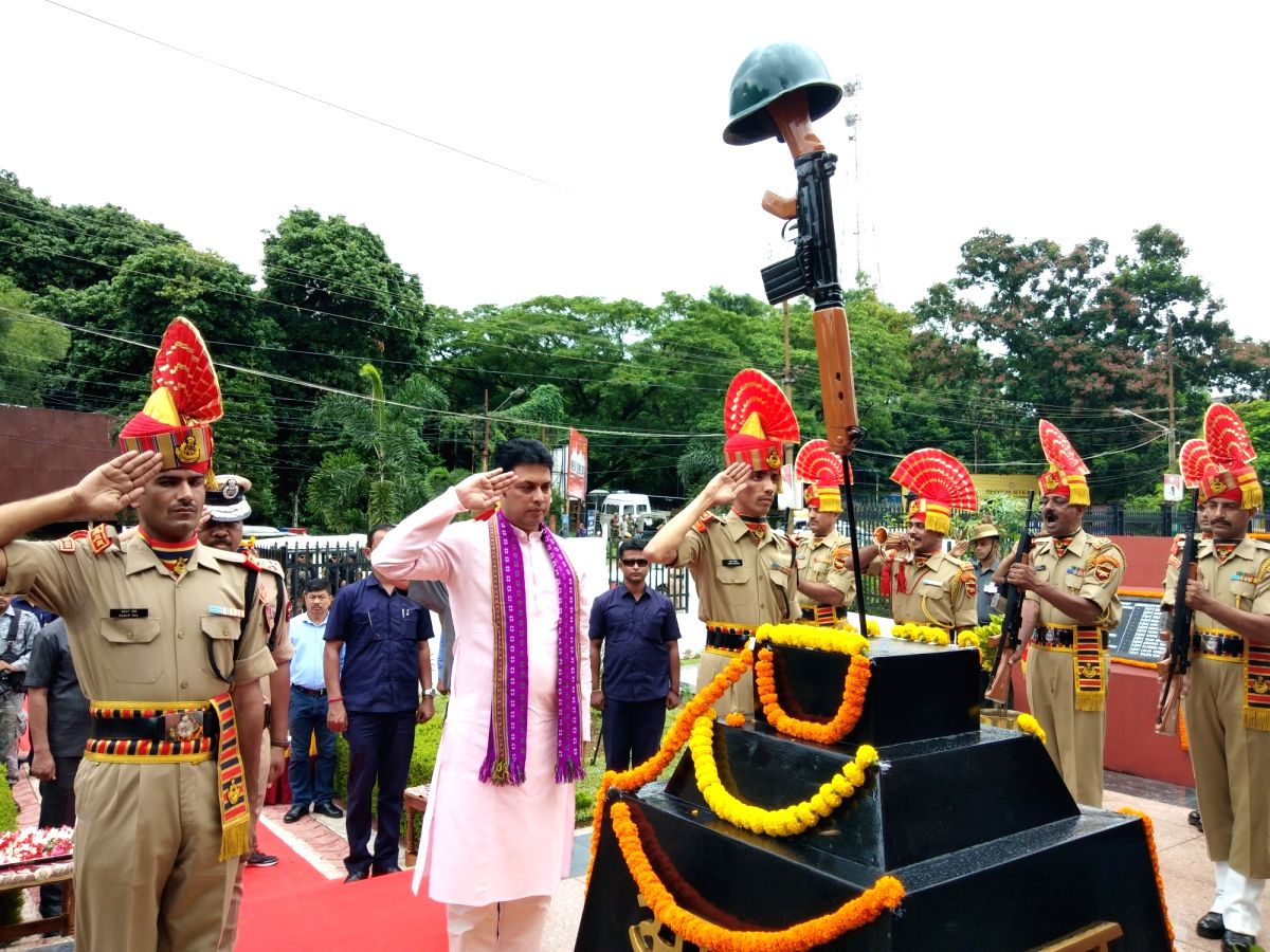 Tripura Chief Minister Biplab Kumar Deb pays tributes to martyrs on the 20th Anniversary of  Kargil Vijay Diwas, in Agartala on July 26, 2019.