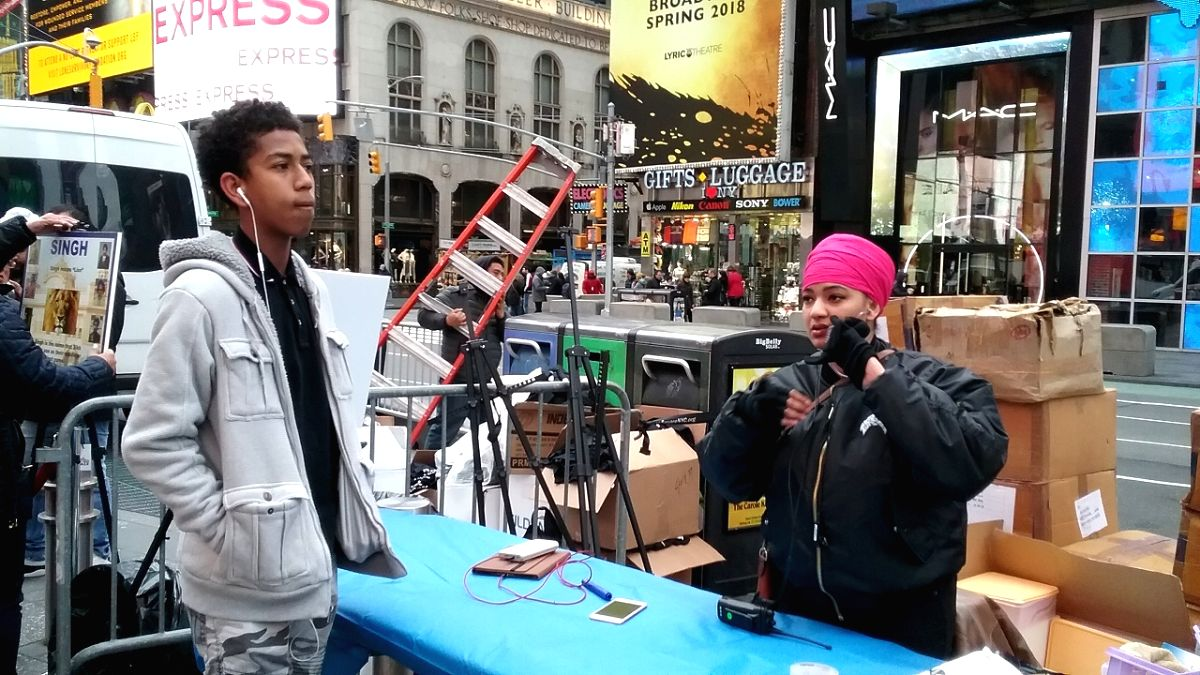 Turban Day in New York's Times Square on Saturday, April 7, 2018, aimed at educating Americans about the significance of turbans for Sikhs and dispel myths about it.