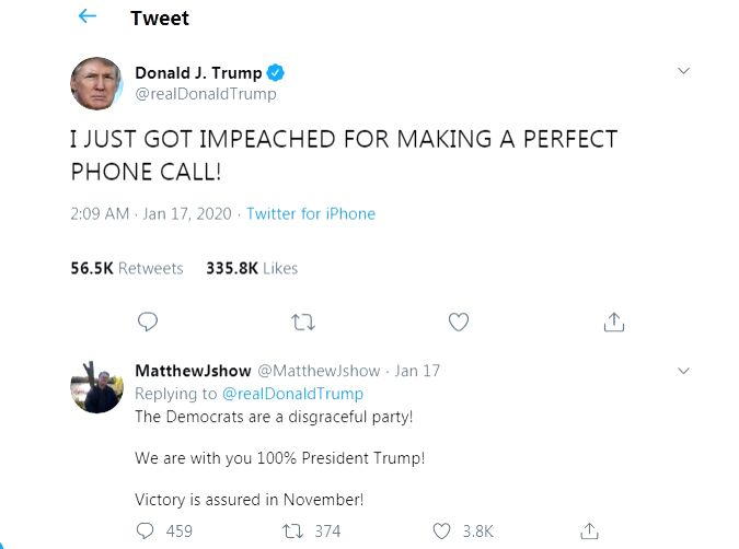 Tweeple reacts after Trump says 'Impeached For Making A Perfect Phone Call.