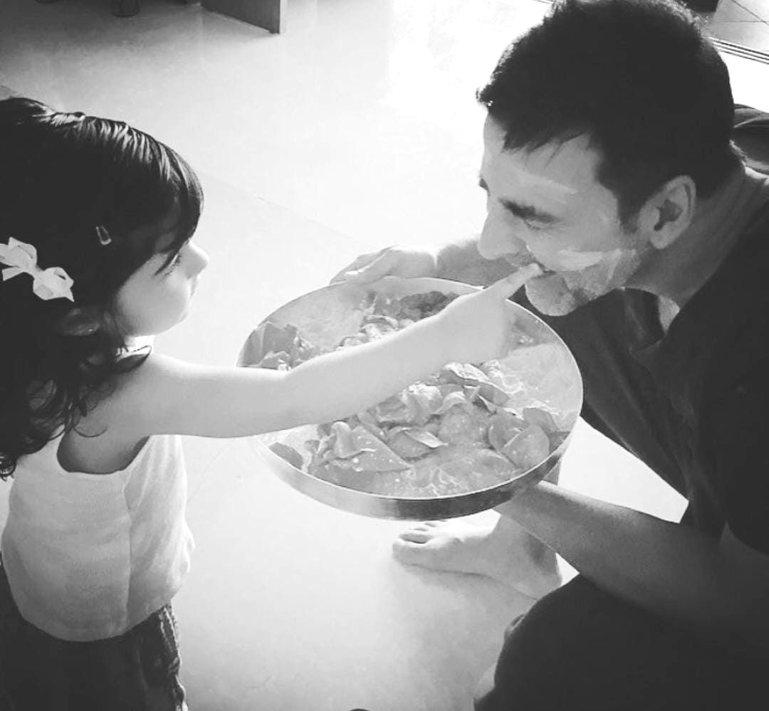 Twinkle shares Akshay Kumars photo with daughter says he is her wall.