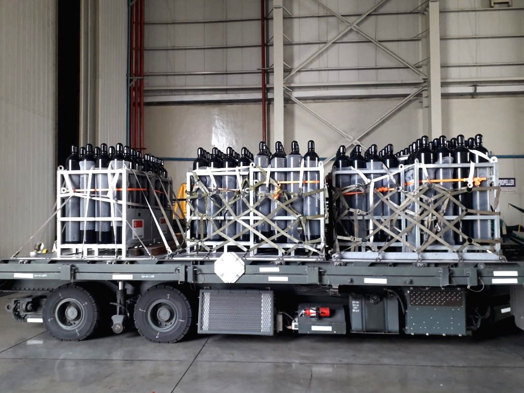 Two C 130 aircraft of Republic of Singapore Airforce landed at Air Force Station Panagarh with 256 oxygen cylinders. The operation involved contactless off loading flight planning and other ground operations.