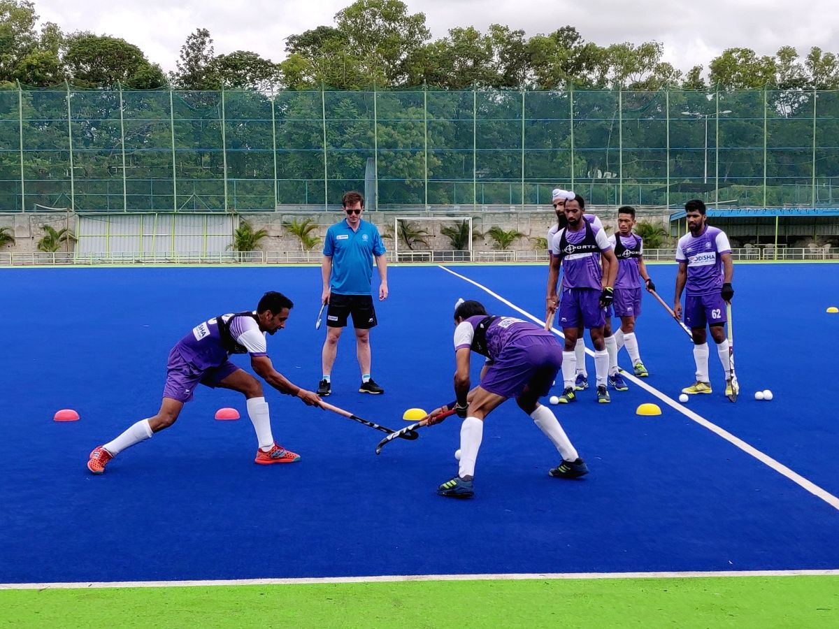 Two-time World Cup winner for Australia Fergus Kavanagh during a week-long camp being conducted by him for the Indian Men's Hockey Team's defenders on an invitation by Hockey India, in Bengaluru.