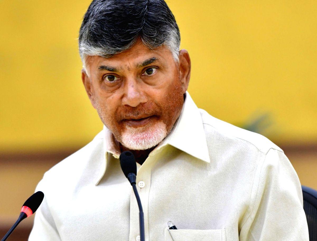 Undavalli: Andhra Pradesh Chief Minister and TDP President N. Chandrababu Naidu addresses a press conference in Undavalli, Andhra Pradesh on May 20, 2019.