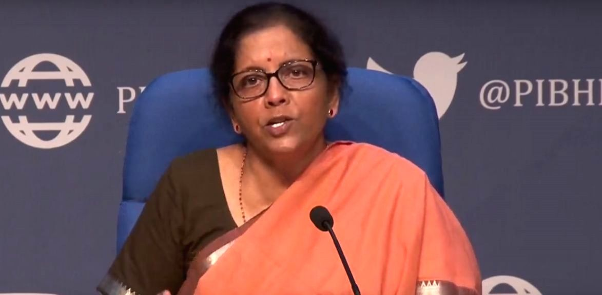 Union Finance ad Corporate Affairs Minister Nirmala Sitharaman addresses a press conference in New Delhi,