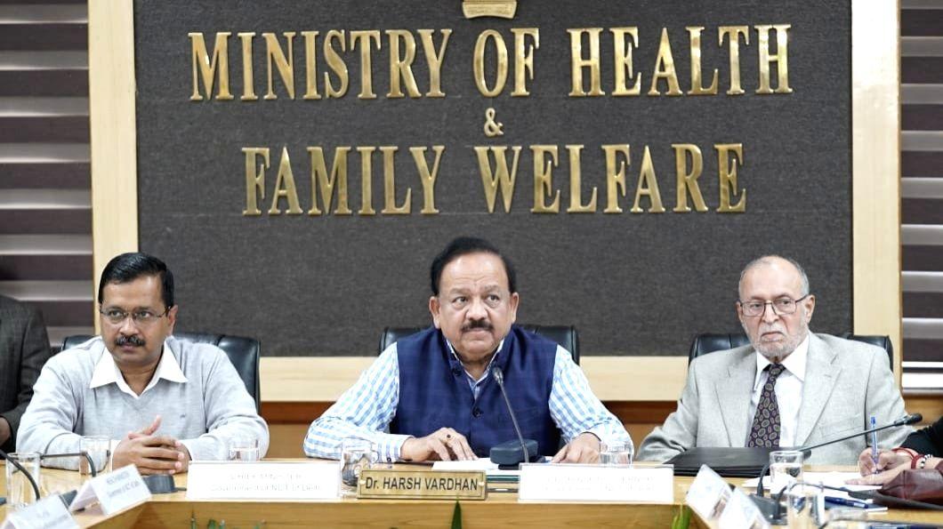Union Health Minister Harsh Vardhan, Delhi Lieutenant Governor Anil Baijal and Chief Minister Arvind Kejriwal