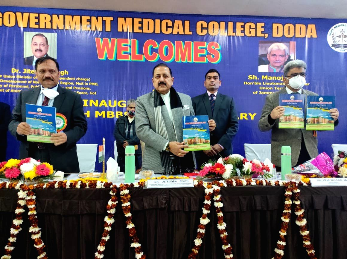 Union Minister Jitendra Singh inaugurated the first batch of MBBS students at Government Medical College located in J&K's Doda in the virtual presence of Lieutenant Governor of J&K Manoj Sinha. (Twitter)