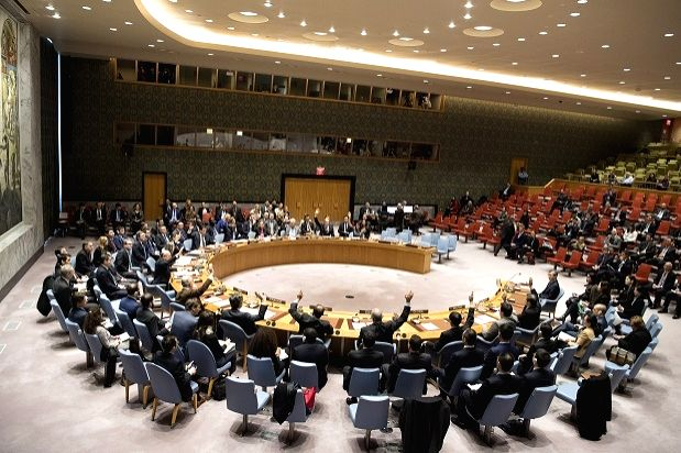 United Nations: All the members of the Security Council vote on Friday, Dec. 22, 2017, to adopt the resolution tightening the sanctions on North Korea because of its nuclear and missile programmes. (Photo: UN/IANS)