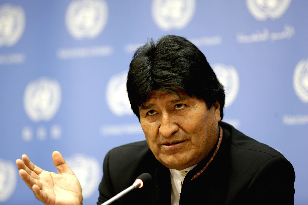 UNITED NATIONS, April 16, 2018 (Xinhua) -- Bolivian President Juan Evo Morales Ayma speaks at a press briefing on indigenous peoples' collective rights to lands, territories and natural resources at the United Nations headquarters in New York, April