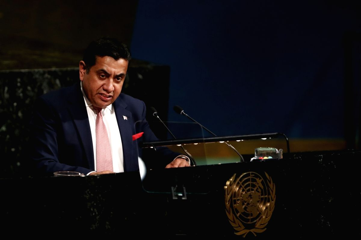 UNITED NATIONS, April 24, 2018 (Xinhua) -- Lord Tariq Ahmad of Wimbledon, Minister of State for the Commonwealth and United Nations of the United Kingdom, addresses the High-Level Meeting on Peacebuilding and Sustaining Peace at the UN headquarters i