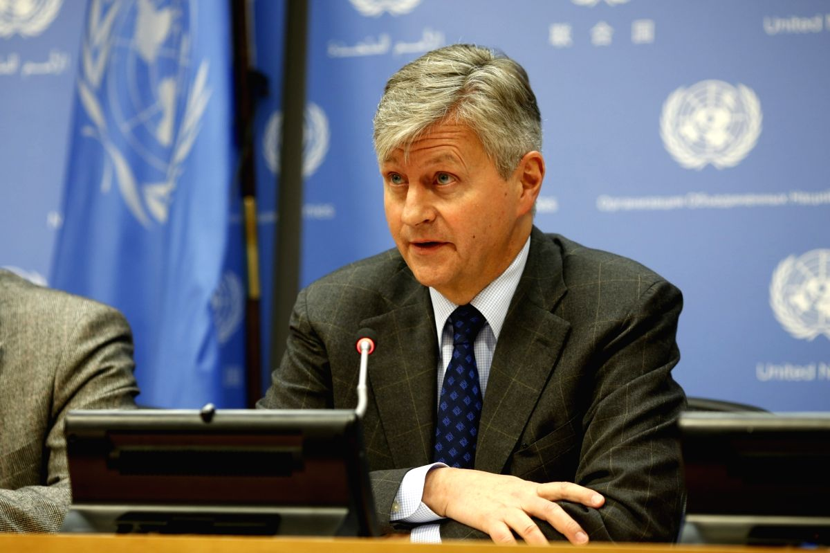 UNITED NATIONS, Feb. 22, 2019 (Xinhua) -- Jean-Pierre Lacroix, United Nations Under-Secretary-General for Peace Operations, speaks during a press briefing at the UN headquarters in New York, on Feb. 22, 2019. Jean-Pierre Lacroix said Friday that the