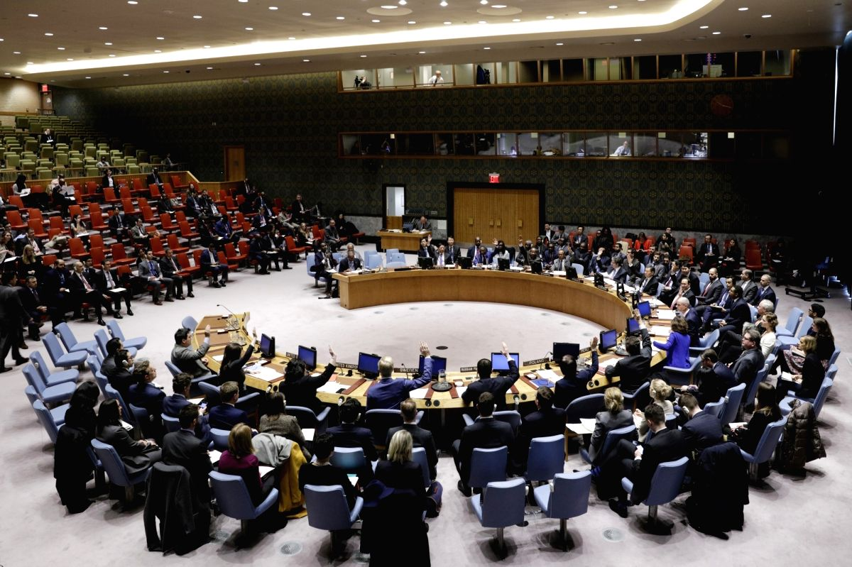 UNITED NATIONS, March 27, 2018 (Xinhua) -- Photo taken on March 27, 2018 shows the United Nations Security Council voting on a draft resolution to extend the mandate of the United Nations Assistance Mission in Somalia (UNSOM), at the UN headquarters