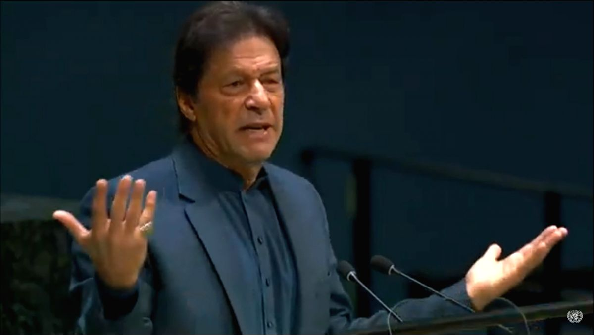 United Nations: Pakistan Prime Minister Imran Khan addresses at the 74th United Nations General Assembly (UNGA), at United Nations on Sep 27, 2019.