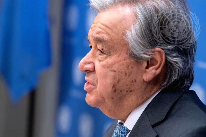 United Nations Secretary-General Antonio Guterres speaks to the media on Thursday, January 28, 2021, at the UN headquarters in New York. (Photo: UN/IANS)
