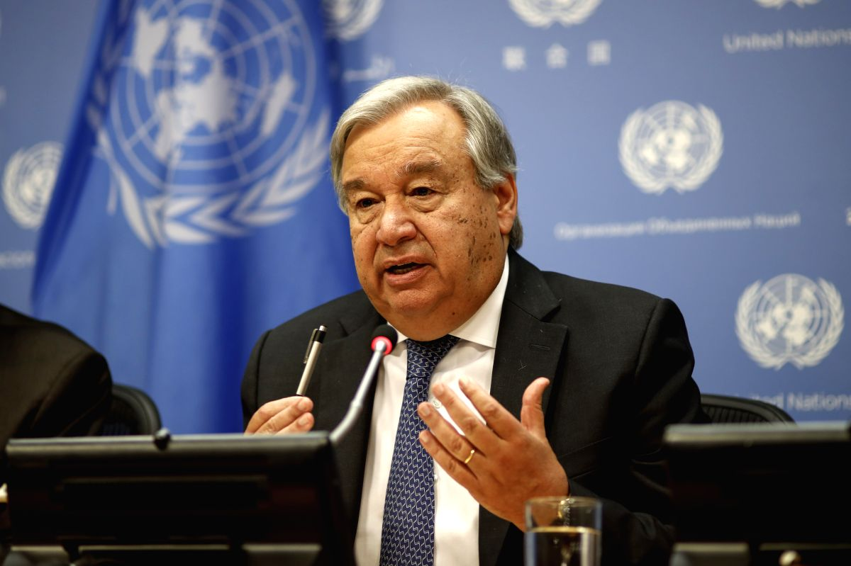 UNITED NATIONS, Sept. 18, 2019 (Xinhua) -- UN Secretary-General Antonio Guterres attends a press conference at the UN headquarters in New York, Sept. 18, 2019. The 74th session of the United Nations General Assembly (UNGA 74) will spotlight climate c